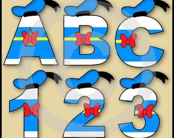 Donald Alphabet Letters & Numbers Clip Art Graphics