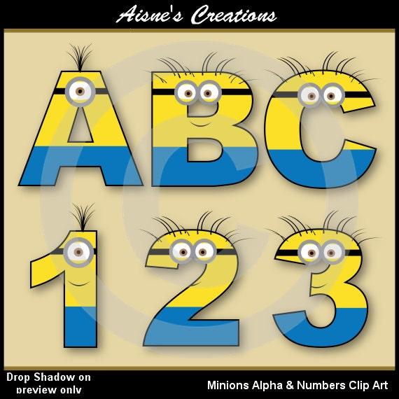 Number Names Worksheets number letter alphabet : Minions Alphabet letters & Numbers Clip Art by AisnesCreations