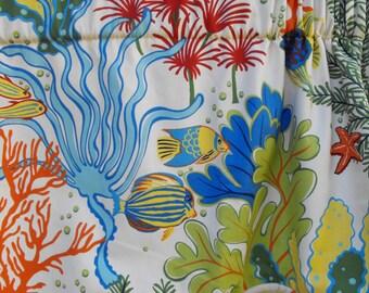 Window curtains, custom curtains, custom drapes, curtain panels, beach curtains, sea life curtains
