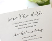 The Magnolia Suite - Letterpress Wedding Save the Date Invitation, Grey, Black, Kraft, Paper Bag, Blush, Pink, Calligraphy, Modern, Rustic