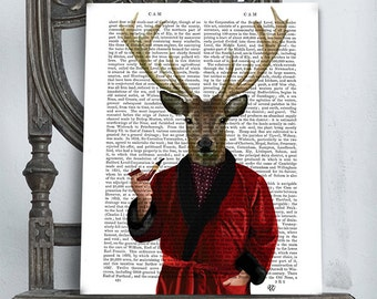 Deer In Smoking Jacket - Deer Illustration wall art wall decor wall hanging Deer art print Deer print Deer decor stag smoking pipe mens gift