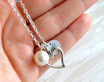 Personalized bridesmaid gift Bridesmaid necklace Heart and initial charm necklace Personalized Bridemaid or flower girl necklace Best Friend