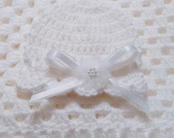 Summer Sale!! Crochet White Christening Baby Blanket, Baptism Baby Blanket Set Granny Square Newborn Hat Christening Afghan