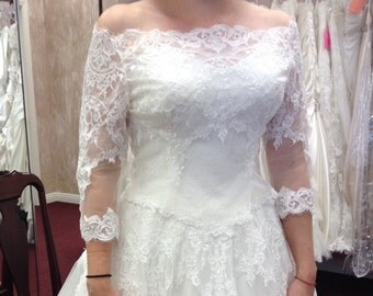 Detachable Alencon lace off the shoulder overbodice #65