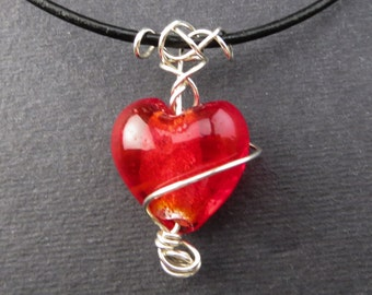 Sterling Silver Wire and Red Glass Heart Pendant
