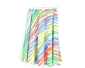 Vintage Color Block Skirt - 80s Does 50s Animal Print Rainbow Skirt - 50s Style Full Skirt - 80s New Wave Primary Color Animal Print Skirt