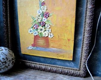 Floral Still Life Scene Vintage Oil Painting: Impasto Floral Painting, Still Life Impasto Flowers Painting, Vintage Oil Painting On Board