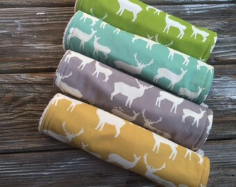 ORGANIC Burp Cloths ~ Nature//Deer//Elk//Woodsy//Natural//Gender Neutral//Woodland
