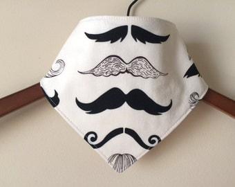 Baby/Toddler Bandana/Scarf/Neckerchief/Drool Bib ~ Mustache//Boy//Dapper