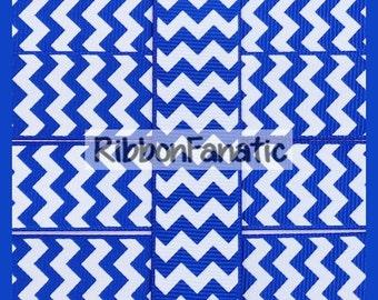 "5 yds 7/8"" Bright Electric Blue and White Chevron Stripe Striped Grosgrain Ribbon"