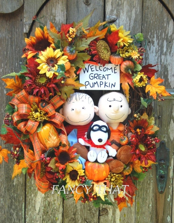 Welcome Great Pumpkin Halloween Wreath Peanuts Gang