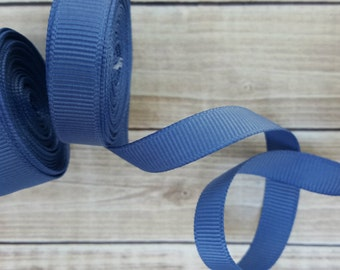3/8 or 5/8 inch DENIM grosgrain ribbon