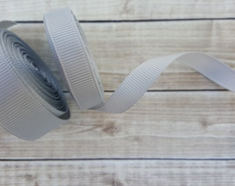 3/8 or 5/8 inch LIGHT SILVER grosgrain ribbon