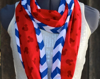 Mickey Mouse Disney Red White & Blue Chevron Infinity Scarf
