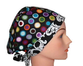 Scrub Hat Surgical Scrub Cap Chemo Chef OR Nurse Doctor Vet Hat Flirty Front Fold Pixie Style Bright Dots Damask  2nd Item Ships FREE