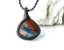 Petrified Cholla wood Necklace / Wrapped jewelry / Macrame Jewelry / Metal Free / Healing Stone / Mineral / Gift for her / Gift for Him