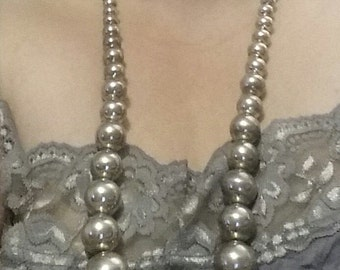 Large 32 1/2 inch sterling silver graduated spheres necklace on sterling silver chain