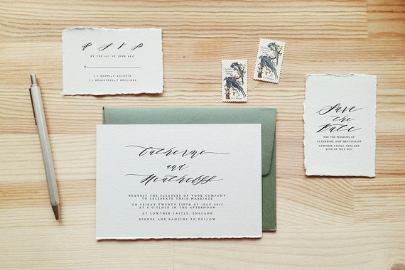 Custom Wedding Invitation Save The Date RSVP Suite Stamp By Poumi