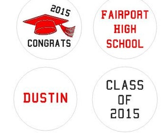Graduation Party Favors Stickers - 2018 Grad - Hersheys Candy Kiss Stickers