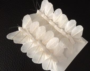 12 Feather Butterflies White_1 inch Artificial Butterflies