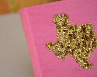 Tiny Texas, pink & big gold