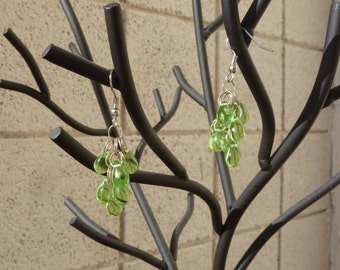 Bunches of Grapes - Cascading Glass Bead Earrings