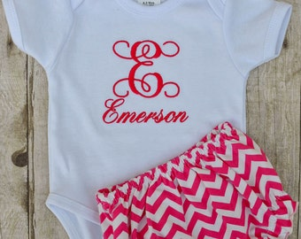 Personalized Onesie with bloomer outfit