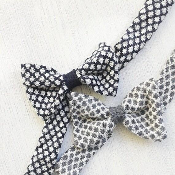 Bow tie headband / knitted girl headband polka dot accessory photo prop / white gray navy blue knit headband