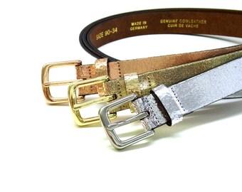 Metallic leather belt women basic jeans belt with metallic buckle soft cow leather belt feminin buckle design shiny glamour leather belt