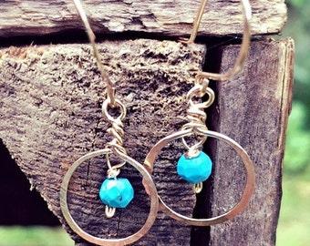 turquoise earrings gold filled hoops earrings. gold filled earrings, blue  earrings from the uk