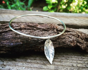 Sterling silver bangle bracelet with leaf charm, sterling silver leaf bracelet