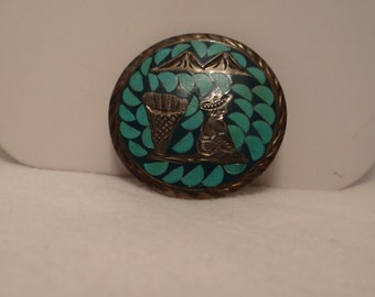 Brooch Sterling Silver w Turquoise man sitting with his basket w mountain