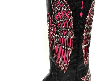 Corral Boots Black/Pink Wing/Crystal Cross