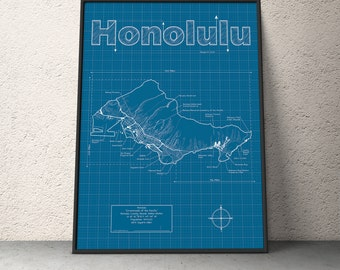 Honolulu Map / Original Artwork / Honolulu Blueprint / Wall Art / Anniversary Gift / Street Map / Hawaii Map / Birthday Gift