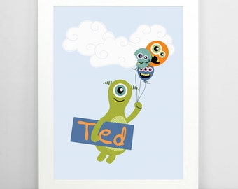 Boys Wall Art, Kids Room Decor, Monster Art, Childrens Decor, Personalised Print