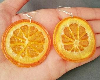 Real orange earrings