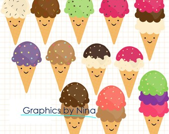 INSTANT DOWNLOA0 Happy  Ice Cream Cone Clipart clip art Scrapbook for Personal and Commercial Use