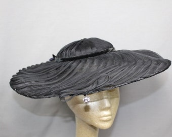 SALE  ...  1940s Black Wide Brim Hat