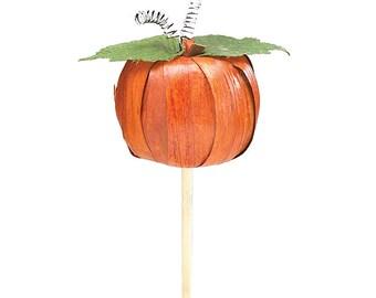 """12"""" High Cornhusk Pumpkin Floral Pick Autumn Fall Decor"""