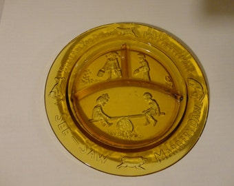 MARGERY DAW PLATES - Set of 2 Childs Divided Nursery Rhyme Amber Plates