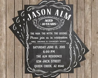 Jack Daniels Inspired Birthday Invitation Printable - Jack Daniel's Birthday Invite - Whiskey Theme Birthday Invitation - DIY Printable