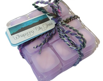 Soft Purple and Baby Pink Fused Glass Coasters (x4)
