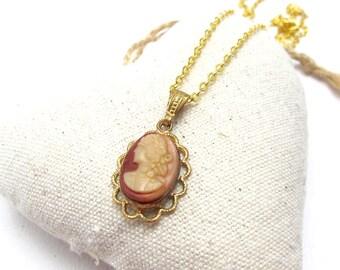 Gold Cameo Vintage Pendant Necklace