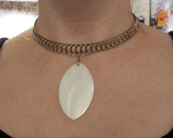 Hippie, Boho Choker Necklace with White Shell Pendant