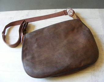 Authentic French Vintage Leather Hunting Bag.