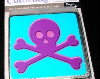 BEWARE Cuttlebug Die & Embossing Folder Halloween Skull and Crossbones 37-1821