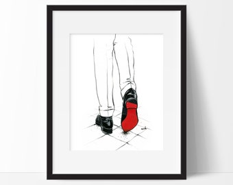 "Christian Louboutin Art Print, ""Code Red"" - Pen And Ink Fashion Illustration, Christian Louboutin Illustration, Fashion Wall Art"