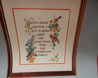 """FRIENDSHIP SAMPLER Design Printed Cross Stitch Kit by Columbia Minerva Vintage 1983 No Counting 14"""" x 18""""  Mary's Neat Knits and Kits Birds"""