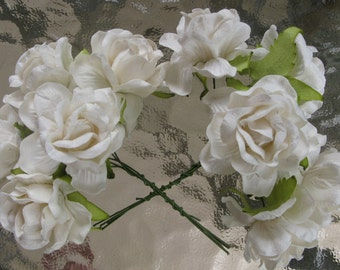 20 Jumbo White Mulberry Roses Paper  Flowers  Size  1.8 inch Bulk Price  Embellishment Scrapbooking