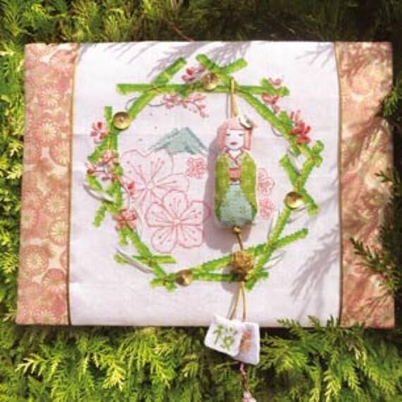 Couronne Fleurs de Cerisier Grille pour point de croix et